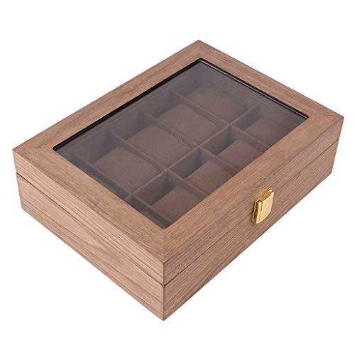 Bonarty Uhrenkoffer für 10 Uhren, Holz Uhrenbox Uhrenkasten Uhrenvitrine Uhrentruhe Uhrenschatulle Schmuckkästchen mit Glasfenster und Samt Futter - Dunkelbraun