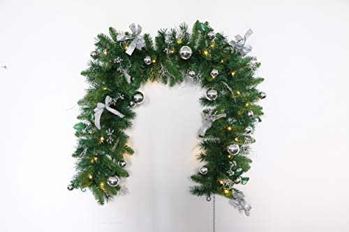 tinsel time 6 Foot Pre-Lit Decorated Christmas Garland with Warm White LEDs, Twinkling and Flashing LEDs, 1.8m, Battery Operated, Traditional Christmas Decoration (Silver)