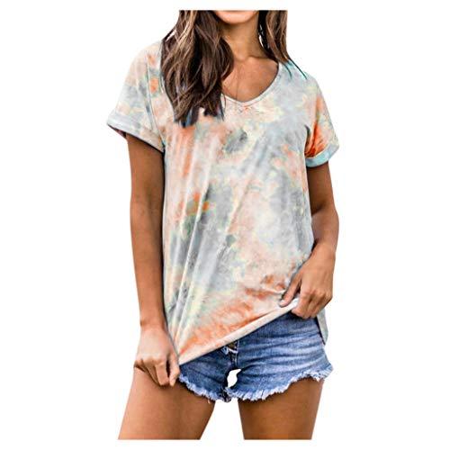KIMODO Damen Kurzarm T-Shirt Farbverlauf Casual Patchwork Sommer Lose Shirt Ärmellose Asymmetrisch Übergröße Rundhalsausschnitt Oberteile (Orange, M)