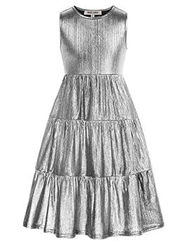 GRACE KARIN Girls A Line Wedding Flower Girl Dress Pleated Swing Dresses Silver 6Y