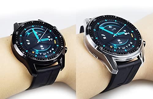 sciuU Hülle mit Bildschirm Schutzglas Kompatibel mit Huawei Watch GT 2 (46mm, Erschienen im 2019), [2 Stück] Schutzhülle Hülle eingebaut Schutzfolie Glasfolie Screen Protector,Schwarz + Klar