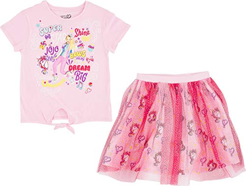 JoJo Siwa Short Sleeve Front Tie T-Shirt and Tulle Printed Skirt (X Small 4/5, Pink)