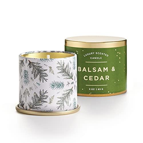Illume Noble Holiday Collection Balsam & Cedar Demi Vanity Tin, 3 oz Candle, 3 Ounce