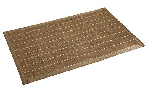 WENKO 17995100 Tapis de bain Bambou Marron Foncé - face inférieure antidérapante, Bambou, Marron foncé