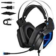 Gaming Headset PS4, Virtual 7.1 & 3,5mm Surround Sound 2 in1 Kabelgebundenes Over-Ear Gaming Kopfhörer mit Abnehmbares Mikrofon, LED-Licht für Laptop, PS4, Xbox one, PC, Smartphone