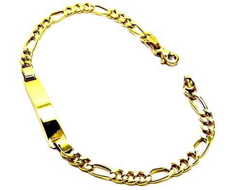Pulsera para hombre de oro amarillo de 18 quilates (750) de eslabones 3 + 1 clásico con placa de 20 cm
