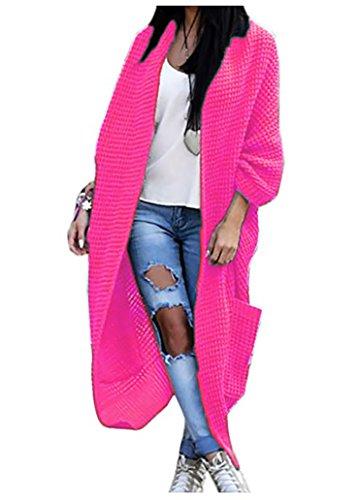 Mikos Damen Strickjacke Pullover Pulli Jacke Oversize Boho S M L XL (629) (One Size, Rosa Neon)