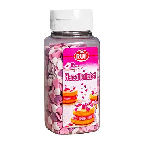 RUF Herzallerliebste Zuckerherzen • Streusel-Herzen in rosa, lila und weiß, 110 g