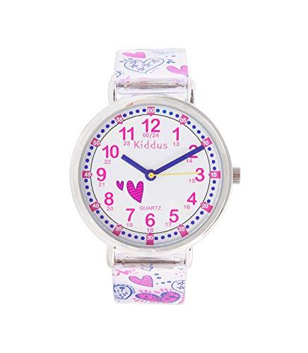 KIDDUS Lern Armbanduhr für Kinder, Jungen und Mädchen. Analoge Armbanduhr mit Zeitlernübungen, japanischen Quarzwerk, gut lesbar, um ganz leicht zu Lernen, die Uhr zu lesen. RE0275 Herz