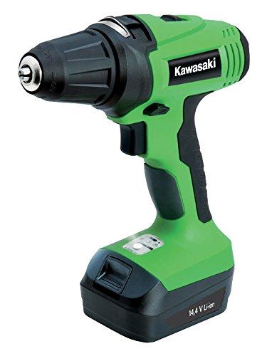 Kawasaki 603010231 Akkuschrauber, 2 Akkus, Schnelllader 1 Stunde, 40 Nm, LED Licht, elektrische Bremse, Drehmoment einstellbar, 14.4 V, grün