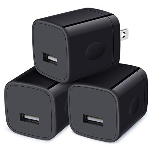 Wall Charger Cube,1A/5V Single Port USB Wall Plug 3 Pack Travel Black Charging Block Box Adapter Compatible iPhone,Samsung Galaxy A21 A51 A71 S20 S10 S9 S8,A10e,A90,Note20/10,Moto G7 G6,LG Stylo 6/5/4