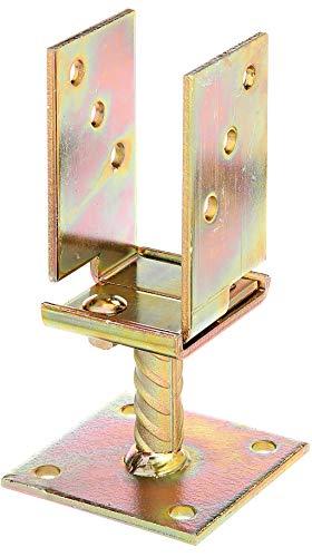 GAH-Alberts 214500 U-Pfostenträger | breitenverstellbar und zum Aufschrauben | galvanisch gelb verzinkt | Breite 71 - 131 mm