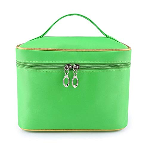 ZANGAO La Bolsa de Maquillaje de Las Mujeres con el Espejo Organizador cosmético del Recorrido Casos de la vanidad Esteticista Necesario Belleza Higiene Lavar Caja de Almacenamiento (Color : Green)