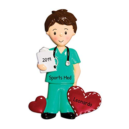 Personalized Medical in Scrubs Christmas Tree Ornament 2020 - Brunette Man Nurse Practitioner Care Green Hearts Brown Hair Prescription New Job Coworker Gift Year - Free Customization (Male)
