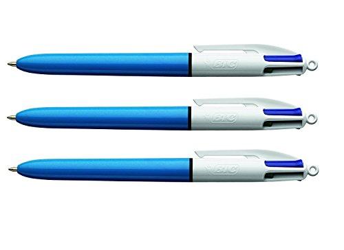 BIC 4 Colours Kugelschreiber, 801868 vierfarbig, 4-Farbkugelschreiber blau rot grün schwarz - 3 Stück (frustfreie Verpackung)