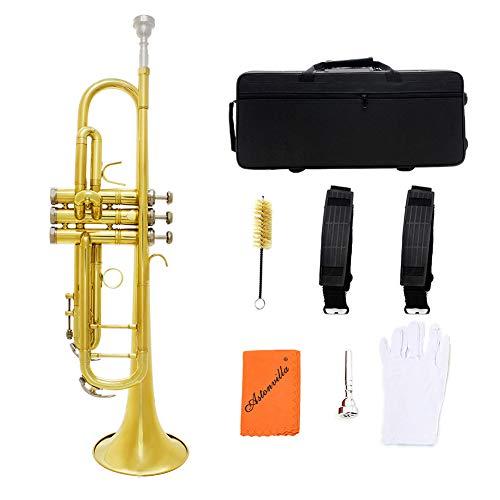 BLKykll gouden trompet messing, trompet messing standaard Bb accessoires handschoenen mondstuk Oxford doek schuim doos doekjes koptelefoon, enz.