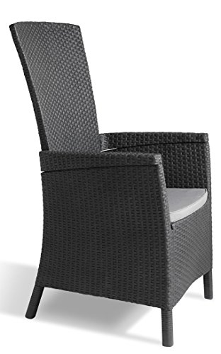 Allibert Dining Sessel Vermont mit Kissen, graphit/cool grey