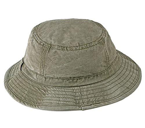 CHENNUO Fischerhüte Herren Bucket Hat Baumwolle Faltbar Anglerhut Schlapphut Buschhut (Armee grün)