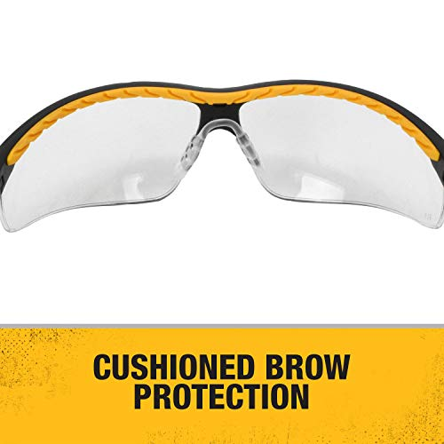 Dewalt DPG55-11C Clear Anti-Fog Protective Safety Glasses with Dual-Injected Rubber Frame and Temples
