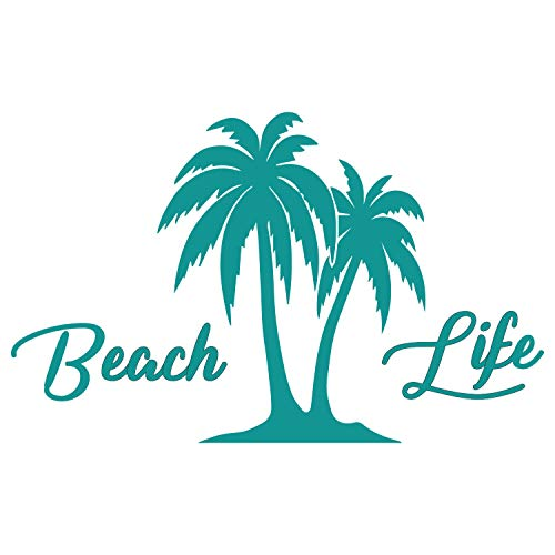 Beach Life Palm Trees Island Vinyl Decal Sticker Car Window Bumper Die Cut 5-Inches Premium Quality UV Resistant Beach'n Ocean Water Surf Sun Tan Marine Life (5-Inches, Teal) JMM00291TEAL5