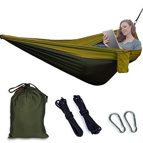 Etmury Hamaca para exterior ultraligera, hamaca con 2 mosquetones + 2 cuerdas de carga de 200 kg, hamaca de viaje, hecha de nailon para exteriores, mochileros, camping, Color verde militar.