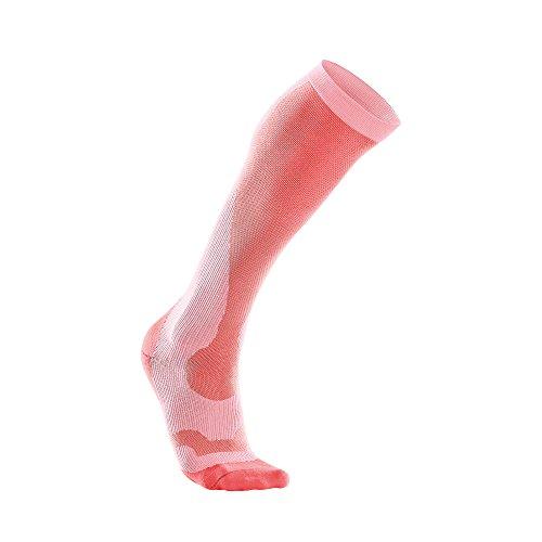 2XU Performance Chaussette de compression spécial course pour Femme noir Candy Pink/Nectarine grand