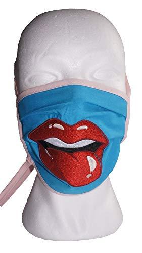 Mund- und Nasenmaske | Baumwolle | 2-lagig | Türkies - Rosa | Bestickt/personalisiert mit Mund/Zunge