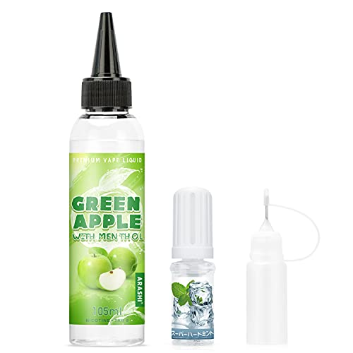 ARASHI 電子タバコリキッド グリーンアップルミント味 105ml大容量 ベープリキッド ミントメンソール10ml付 自由でDIY可能
