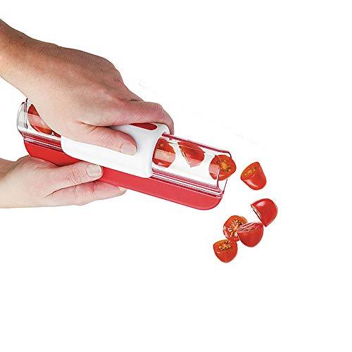 Cortador de frutas, tomates / uvas de vino / cortador de cerezas, decoración de frutas y cocina, rallador de verduras, herramienta de cocina, 1 unidad, rojo, 20 x 7,5 x 7 cm
