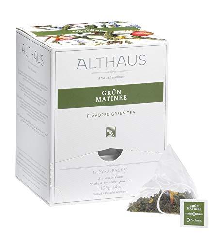 Althaus Tee GRÜN MATINEE ⋅ Grüner Tee im Pyramidenbeutel PYRA PACK ⋅ Aromatisierter Grüner Tee mit exotischem Fruchtgeschmack ⋅ 15 x 2,75g