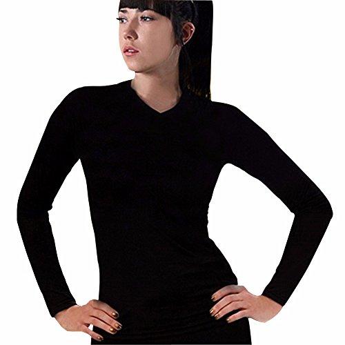Henri maurice Femme sous-vêtements Thermiques Chemises Haut Couche de Base Compression à Manches Longues à col V CLW - Noir - Medium