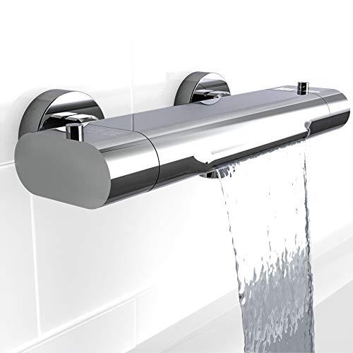 EISL Badewannenarmatur CARNEO, Mischbatterie mit Thermostatregulierung, Wasserfall-Auslauf, Sicherheitssperre bei 38°C, geringere Stoßgefahr durch kurzen Überhang, 1330090, Chrom