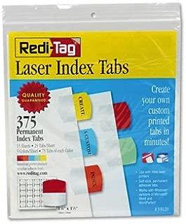 Redi-Tag® Laser Printable Index Tabs TAB,LSR,1-1/8 375/PK,AST 6R1267 (Pack of4)