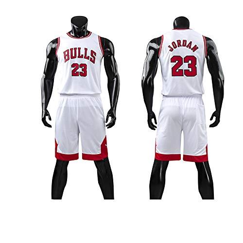 LYY Jerseys Men's, NBA Chicago Bulls # 23 Michael Jordan - Niño Uniformes De Baloncesto Adulto Classic Sport Camisetas Y Cómodos Chalecos Tops Set,Blanco,M(Child) 125~135CM