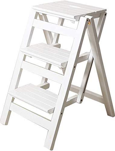 GDFEH Plegable Multifuncional Escalera de Tijera de 3 peldaños de Madera Utilidad...