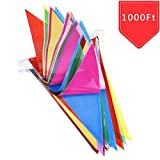 VOVRU Multicolor Pennant Banners String Bunting Flag Banner, 600pcs Nylon Fabric Decorations Flags for Festival Party Celebration Eventsyard Picnics - 600pcs Nylon Fabric Decorations Flags (600 PCS)