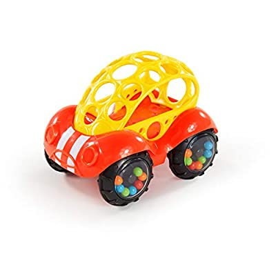 Bright Starts Easy Grasp Push Vehicle Toy - Ages 3 Months +, Rattle & Roll Buggie, Red