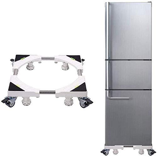 洗濯機 台 冷蔵庫置き台 キャスター付 かさ上げ 移動式 360度回転 昇降可能 幅/奥行45~70cm 減音効果 防振パッド付き 耐荷重600kg 付日本語説明書 (新4足8輪)