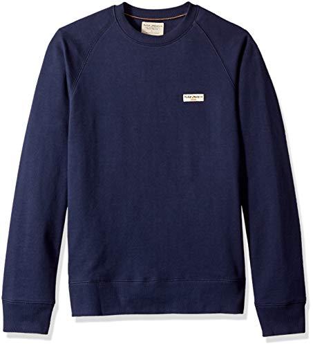 Nudie Jeans Herren Samuel Logo Sweatshirt, Midnight, X-Large