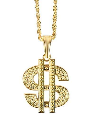 Collana Simbolo Rapper Uomo Donna Trapper Trap Dollaro Rap Hip Hop Travestimento Idea Regalo Unisex Colore Oro