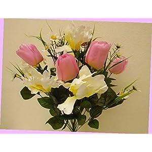 "Silk Flower Arrangements Artificial Pink Cream Mix Tulip Iris Bush 22 Artificial Silk Flowers 22"" Bouquet 4927pkcr Bouquet Realistic Flower Arrangements Craft Art Decor Plant for Party Home Wedding Decoration"