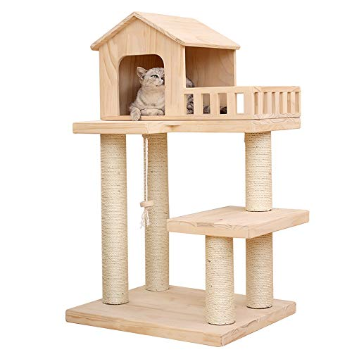 Kratzbaum Cat House Ereignisbaum Mit Holz Hat Verkratzen Möbel Verkratzen Haus Kletter Barsch Plattform Activity Center Spielzeug (Color : Natural, Size : 50x60x100.5cm)