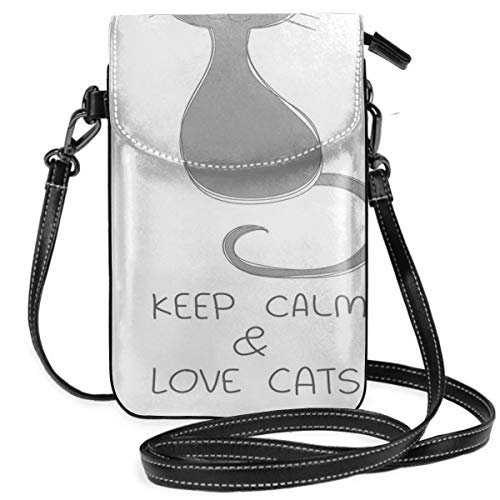 Women Small Cell Phone Purse Crossbody,Grey Cat Sitting With Red Heart And Hand Drawn Quote Keep Calm Love Cats