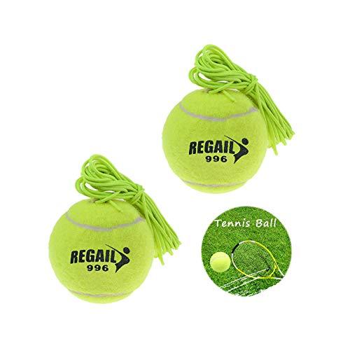 Ziyero 2 Stuks Koord voor Tennis Coaches Tennisbal met elastisch koord Hoge Elasticiteit Professionele Training…