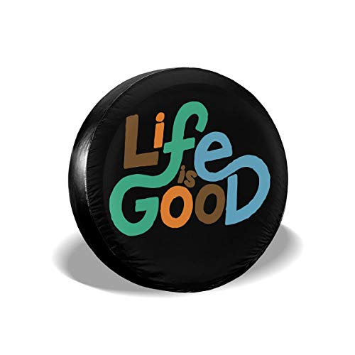 MXPINK Life is Good Spare Tire Cover, Universal Fit for Jeep,Trailer, RV, SUV, Truck and Many Vehicle, Diameter 14' - 17', Weatherproof Tire Protectors