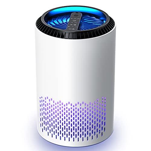 Kloudi purificatore d'Aria Filtro HEPA, Aria purificante, con 3 velocità, 6/12/24 Ore, Funzione di aromaterapia, Filtro Polvere, polline, Fumo, Ideale per la casa