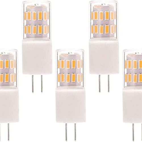 Gmasuber G4 Bombillas LED regulables G4 Bi-Pin Base 2W Blanco Cálido 3000K LED Bombilla de maíz para iluminación de paisaje, hogar, 31 LED 4014 SMD, 5 unidades