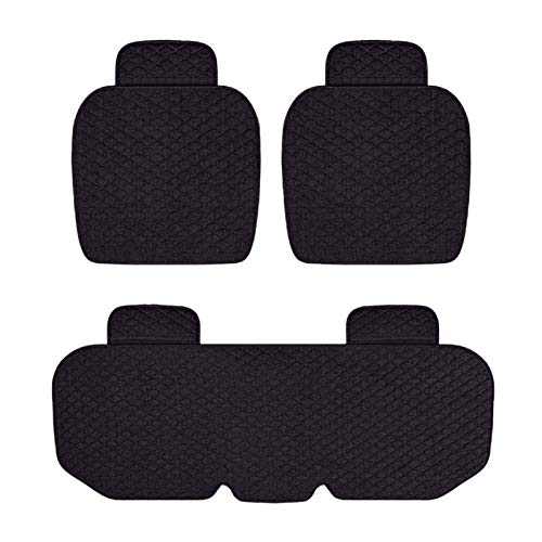 Rubyu 3-Teiliges Set Auto Sitzkissen Autositzkissen rutschfest Atmungsaktiv Rücken Kissen Auto Sitzauflagen Universal Auto Sitzbezüge für Vordersitzbezüge und Rücksitzbezüge Schwarz