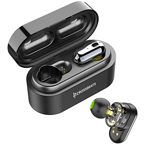 CrossBeats Elektra 2019 Latest True Wireless in-Ear Earbuds Earphones Headphones Dual Driver and Bluetooth 5.0, in-Built Microphone, 3D Sound, 18H Playtime, Auto Pairing Sports Headset, Stereo Calls