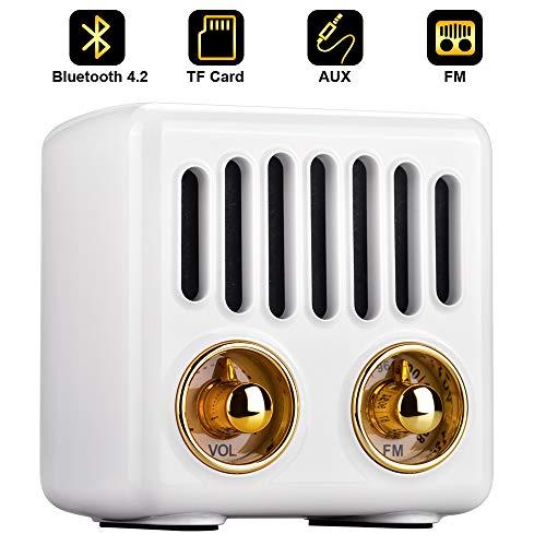 Qoosea Tragbares Radio Bluetooth Lautsprecher Handgefertigter Stereo Bluetooth 4.2 Mini Lautsprecher mit Super Bass Subwoofer mit FM Radio Weiß